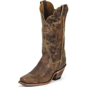 Justin Leather distressed Bent Rail Boot SZ 7